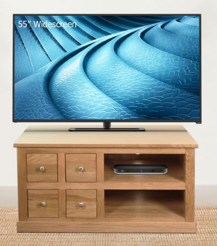 Mobel Oak 4 Drawer TV Unit